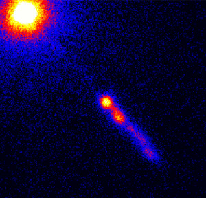 Chandra Observes Cosmic Traffic Pile-Up In Energetic Quasar Jet image